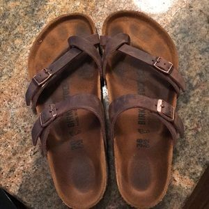 Brown toe Birkenstocks